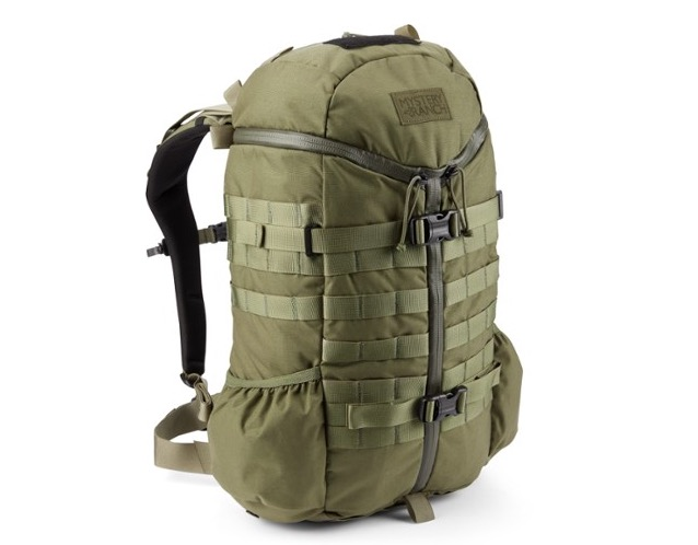 The Mystery Ranch 2 Day Assault Pack shown here in a green color and from a front view to show what it looks like zipped and packed.