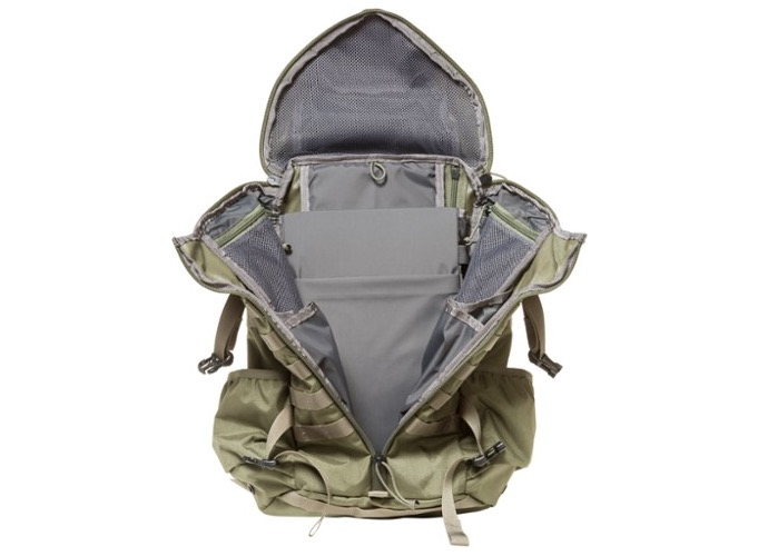 The Mystery Ranch 2 Day Assault Pack shown here in green and unzipped showing the tri-zip system.