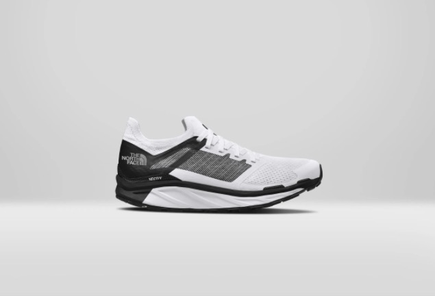 This is a simple picture of The North Face Vectiv running shoe. Just a single shoe is shown from the profile and with a monotone gray background.